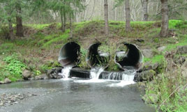 Triple culvert presents barrier to fish, questionable storm capacity